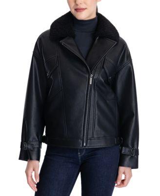 마이클 마이클 코어스 가죽 코트  Michael Michael Kors Faux-Shearling Moto Coat,Black