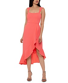 Double-Strap High-Low Midi Dress