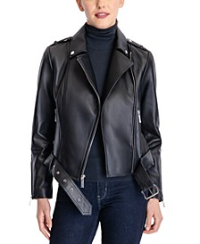 Belted Leather Moto Coat, Created for Macy's