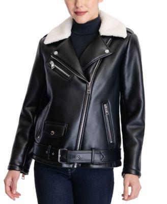 마이클 마이클 코어스 가죽 코트 Michael Michael Kors Faux-Sherpa Collar Faux-Leather Moto Coat