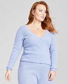 Plus Size Cashmere Ribbed Boyfriend Cardigan, Created for Macy's