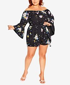 Trendy Plus Size Summer Rose Romper