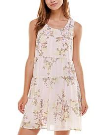 Juniors' Tiered Floral-Print Babydoll Dress