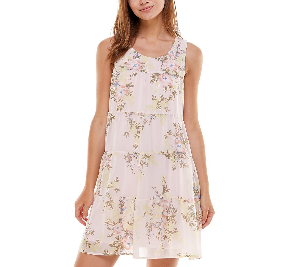 As U Wish Juniors' Tiered Floral-Print Babydoll Dress