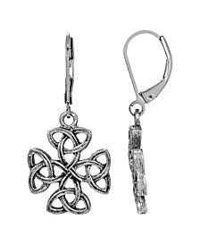 Silver-Tone Celtic Trinity Cross Earrings