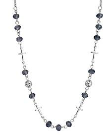Silver-Tone Blue Bead Cross Necklace