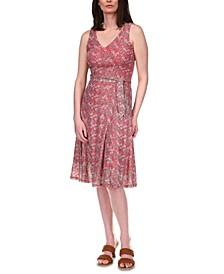 Printed Belted Dress, Regular & Petite Sizes