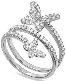 Cubic Zirconia Butterfly Wrap Ring in Sterling Silver, Created for Macy's