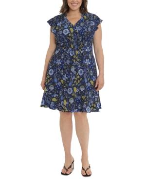 Plus Size Flutter-Sleeve Fit & Flare Dress