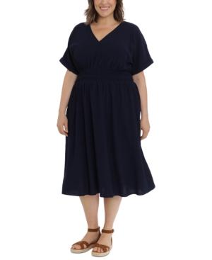 Plus Size V-Neck Rolled-Sleeve Elastic-Waist Midi Dress