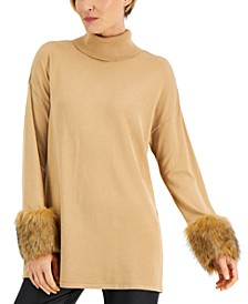 Faux-Fur-Cuff Tunic Sweater, Created for Macy's