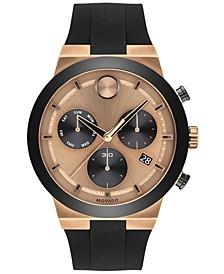 Men's Swiss Chronograph Bold Fusion Black Silicone Strap Watch 45mm