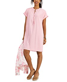 Petite Tie-Neck Woven Dress, Created for Macy's