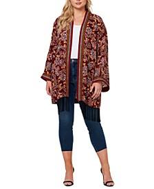 Plus Size Printed Open-Front Kimono