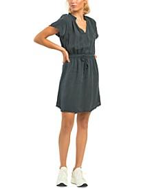 Elastic-Waist Frayed-Hem Dress