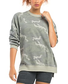 Oversized Camo-Print Pullover Sweatshirt