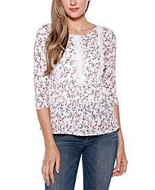 Copper Label Floral 3/4 Sleeve Peplum Top