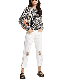 Zebra-Print Cashmere Boyfriend Sweater
