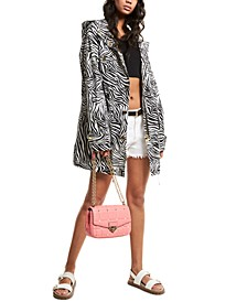Zebra-Print 4-Pocket Anorak Jacket