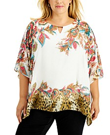 Plus Size Printed Keyhole-Cutout Top, Created for Macy's
