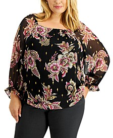 Plus Size Floral-Print Square-Neck Top, Created for Macy's