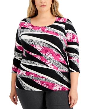 Plus Size Mixed Print 3/4-Sleeve Top