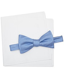 Men's Solid Pre-Tied Bow Tie & Solid Oxford Pocket Square Set