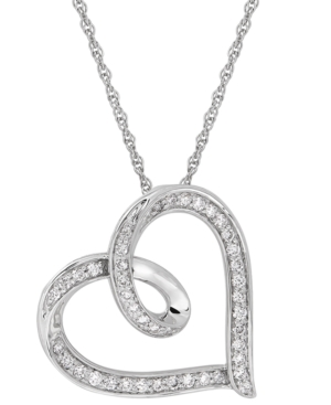 Lab-Created Diamond Open Heart Pendant Necklace (1/2 ct. t.w.) in Sterling Silver