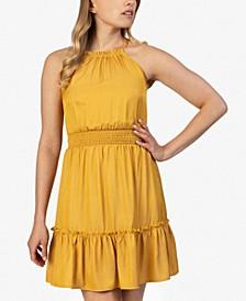 Juniors' Halter Fit & Flare Dress