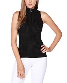 Black Label Petite Sleeveless Mock-Neck Zip Sweater