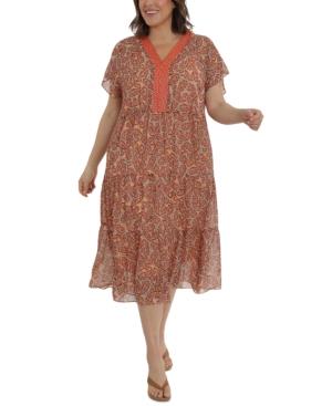 Plus Size Flutter-Sleeve Printed Midi Dress
