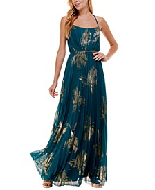 Juniors' Pleated Printed Gown