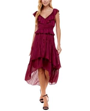 Juniors' Ruffle-Neck Midi Dress