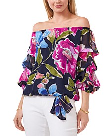 Floral-Print Ruffled-Sleeve Off-the-Shoulder Top