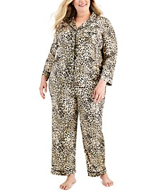 Plus Size Notch-Collar Pajama Set, Created for Macy's