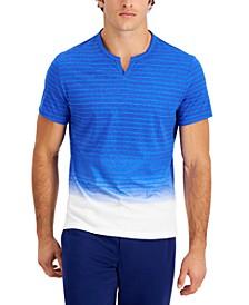 Men's Bleach Dip-Dyed Stripe Split-Neck T-Shirt, Created for Macy's