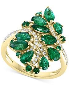 EFFY® Emerald (2-1/2 ct. t.w.) & Diamond (1/5 ct. t.w.) Cluster Statement Ring in 14k Gold