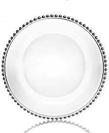 Jay Import Glass Silver Beaded Charger Plate