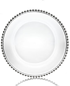 Jay Imports Glass Silver Beaded Charger Plate