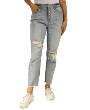 Juniors' Ripped High Rise Mom Jeans