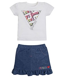 Baby Girls Foil Print and Embroidered T-shirt with Knit Denim Skirt Set
