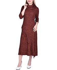 Women's 3/4 Sleeve Ribbed Cowl Neck Dress with Detachable Scarf Headband