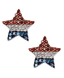 Diamond Flag Star Stud Earrings in Sterling Silver (1/4 ct. t.w.)