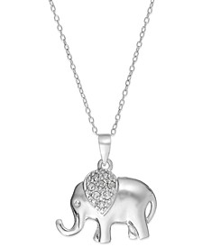 "Diamond Elephant 18"" Pendant Necklace in Sterling Silver (1/10 ct. t.w.)"