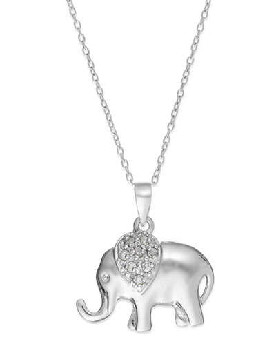 18 Quot Diamond Elephant Pendant Necklace In Sterling Silver