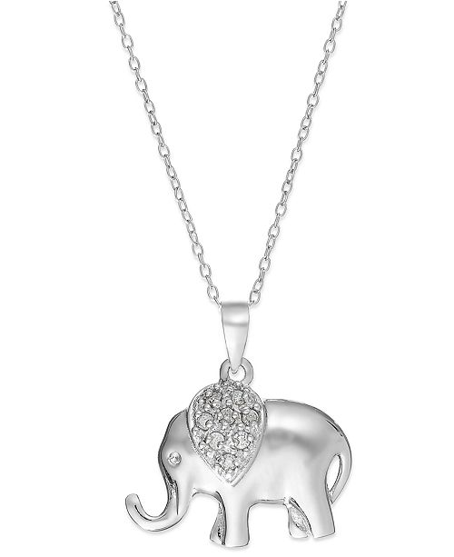 "Macy's Diamond Elephant 18"" Pendant Necklace in Sterling Silver (1/10 ct. t.w.)"