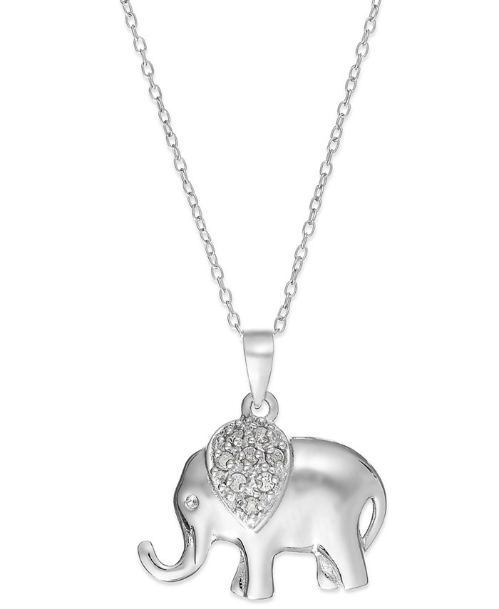 Macy's - Diamond Elephant Pendant Necklace in Sterling Silver (1/10 ct. t.w.)