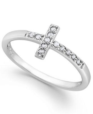 Diamond Cross Ring in Sterling Silver (1/10 ct. t.w.)