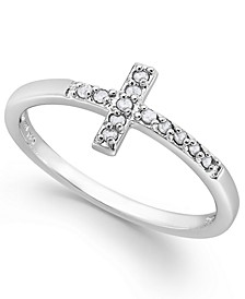 Diamond Cross Ring in Sterling Silver (1/10 ct. t.w.)