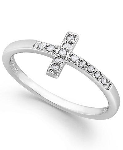 Diamond Cross Ring In Sterling Silver 1 10 Ct T W